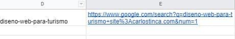 El resultado de la función Concatenar de Google Sheets para obtener la URL de Google