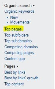 Top Pages de Ahrefs